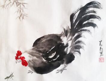 大吉大利 吴马画鸡作品