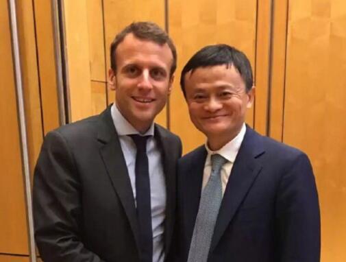法国总统马克龙来华访问与马云领衔的中国企业家们会面