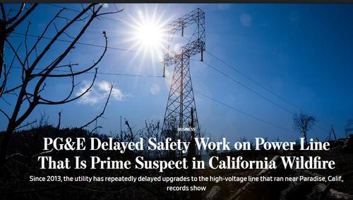 PG&E一再推迟高压输电线路检修工作导致加州山火